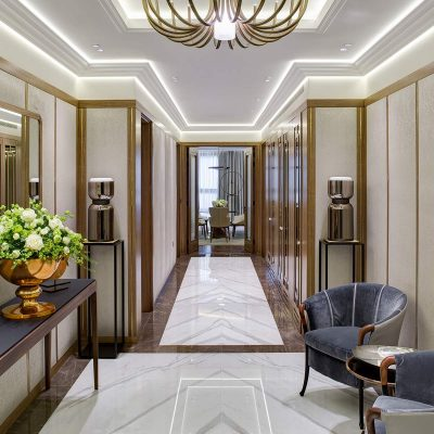 Entrance lobby, luxury apartment living at Buxmead by Harrison Varma