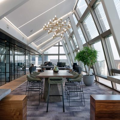 Long view of a luxury office interior design in Mayfair London