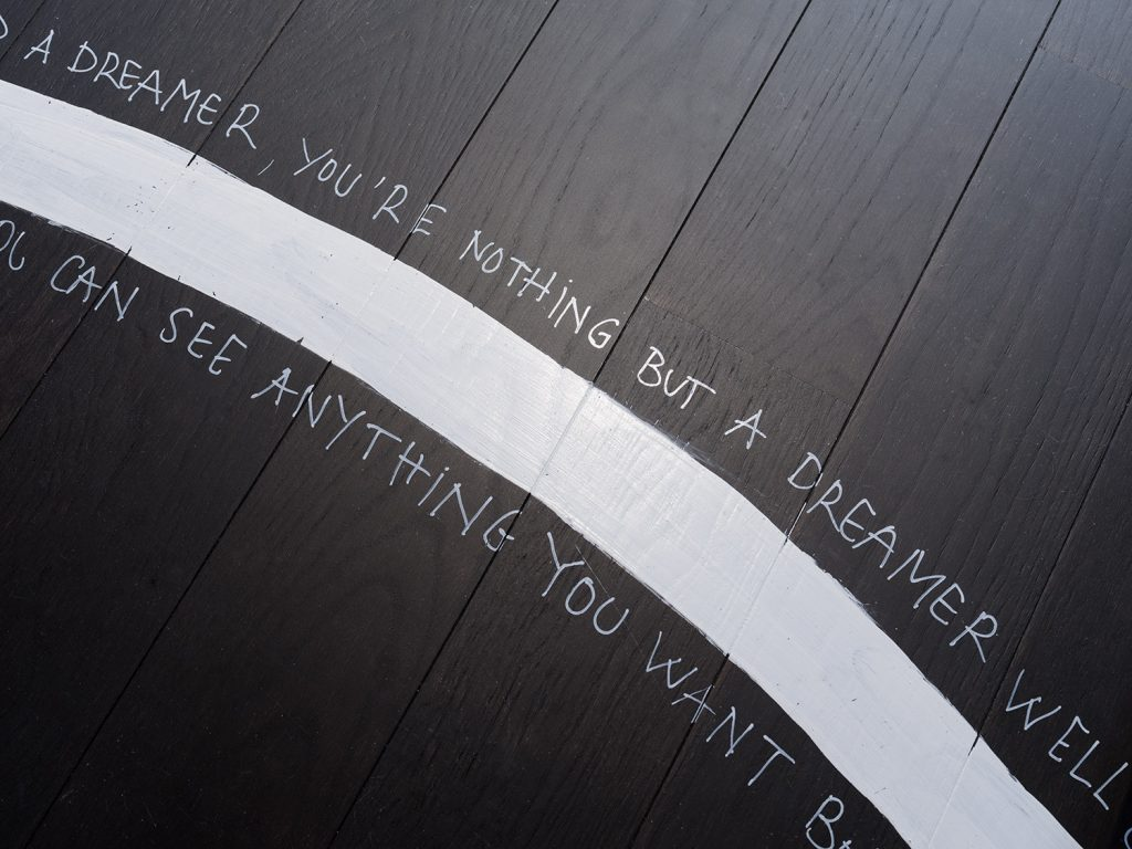 Supertramp lyrics written on floor of a dreamer's lounge at holiday house london