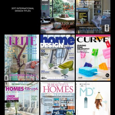 Front cover images of 8 non UK interior design and lifestyle magazines