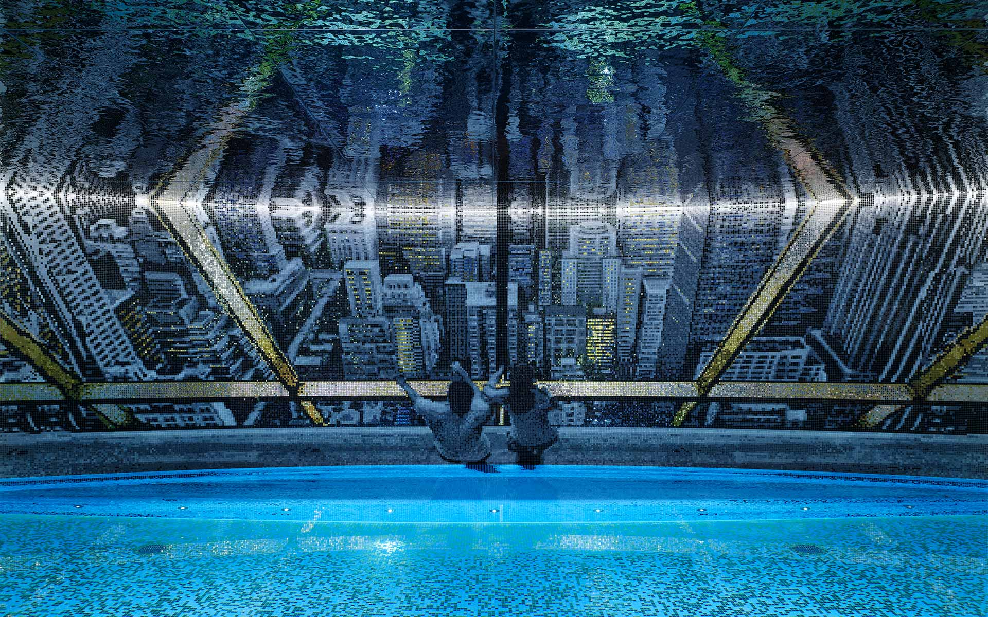 Private subterranean swimming pool with bespoke mosaic artwork