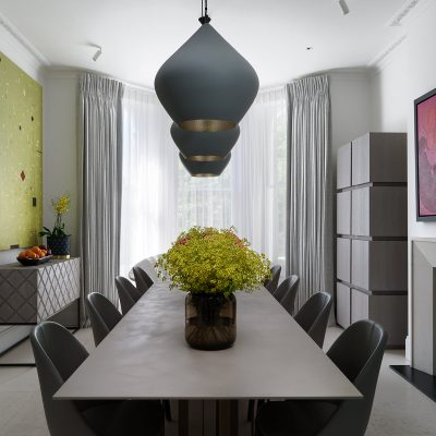 Kensington luxury dining space. Interior Design by Staffan Tollgard Design Group