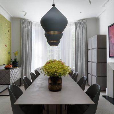 Kensington luxury dining space. Interior Design by Staffan Tollgard Design Group
