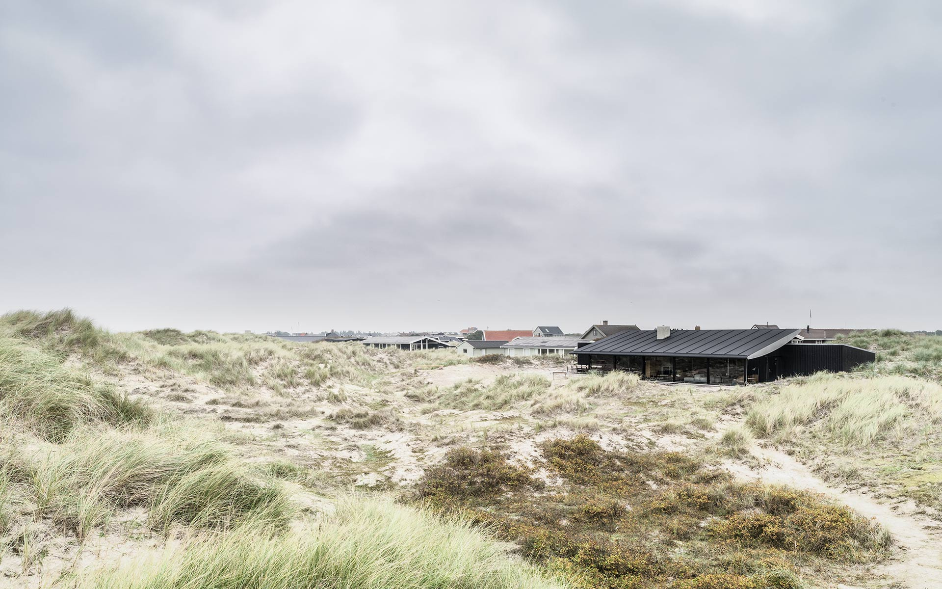 Holiday house set in the dunes on the Danish Island of Fano